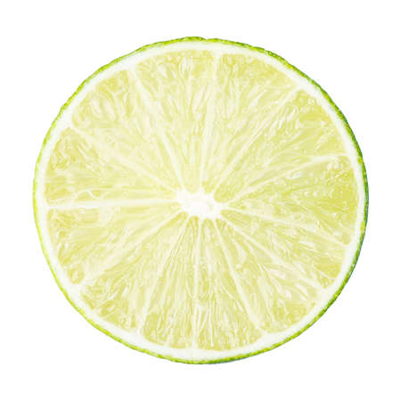 lemon slice: slice of lime isolated on white
