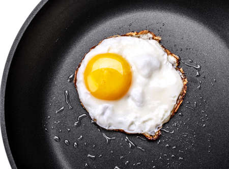 egg white: Fried one egg in a frying pan