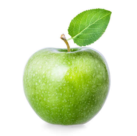 Green apple isolated on white background clipping path