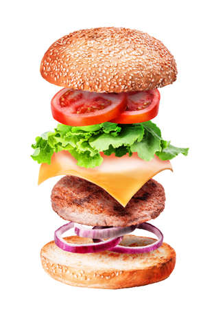 Flying burger ingredients isolated on white background Banque d'images