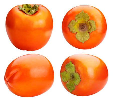 persimmon set four isolated on white background clipping path