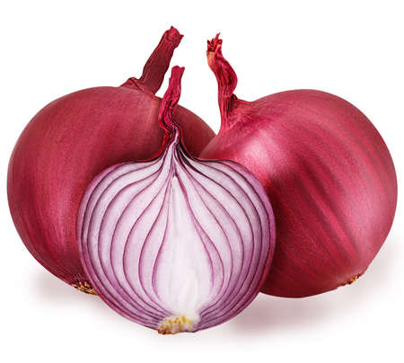 segmento: three bulb sliced red onion set isolated on white background clipping path