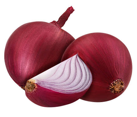 three bulb sliced red onion set isolated on white background clipping path