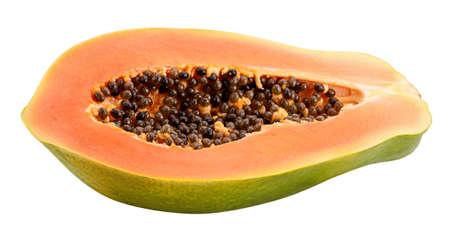 Papaya cut half Isolated on white background Standard-Bild
