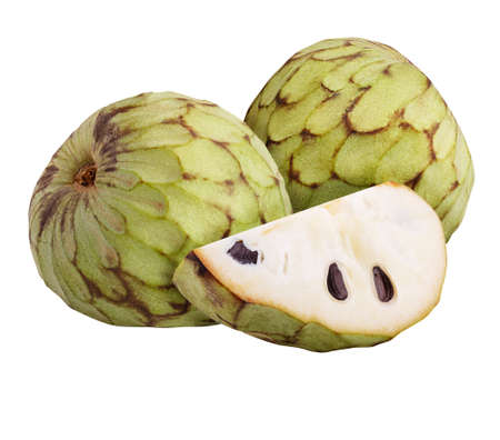 cherimoya set Isolated on white background