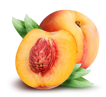 peaches isolated on white background with clipping path Stock Photo