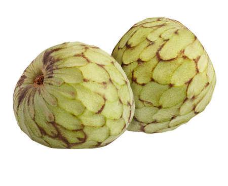 cherimoya two Isolated on white background Clipping path