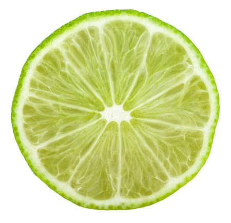 Half lime Isolated on white background Clipping path