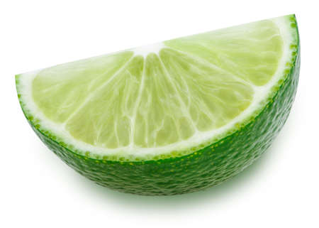 Quarter of lime cut Isolated on white background