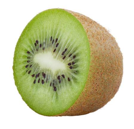 Kiwi half slice Isolated on white background Standard-Bild