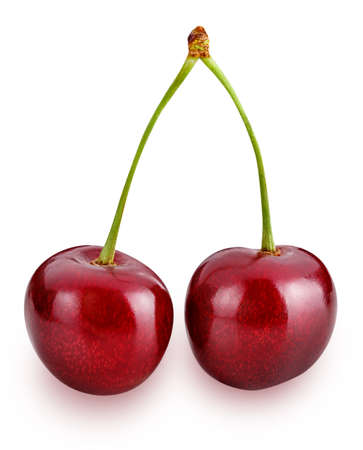 cherries isolated on white background clipping path Standard-Bild