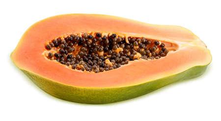 Papaya cut half Isolated on white background Stock Photo
