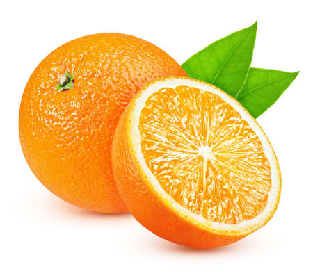 Ripe oranges with a slice isolated on a white