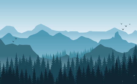 Beautiful mountains landscape in the foggy morning. Trees and hills. Light blue tones flying birds