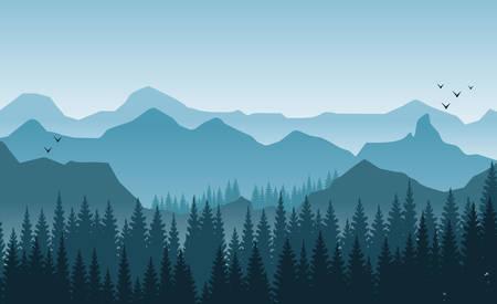 Beau paysage de montagnes le matin brumeux. Arbres et collines. Oiseaux volants tons bleu clair
