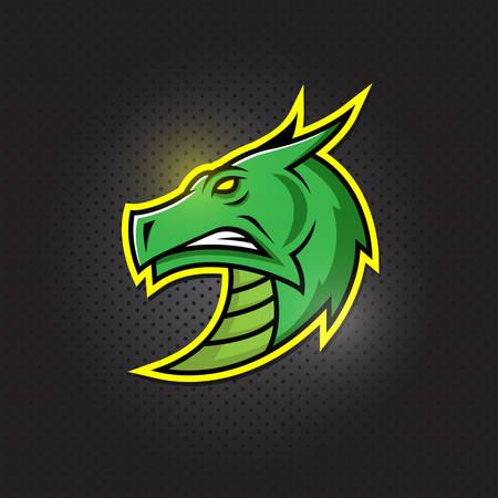 Dragon head mascot icon, e sport design Illustration