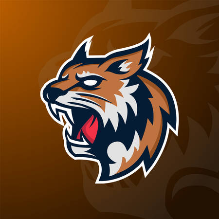 Angry Wildcat mascot sport icon, badge and emblem. Vector Illustration
