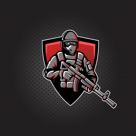 Soldier with a rifle mascot icon. Illustration