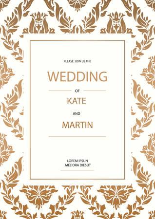 Vintage Wedding Invitation design template Vettoriali