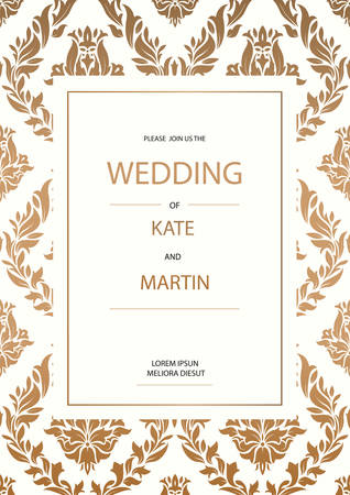 Vintage Wedding Invitation design template Vektorové ilustrace