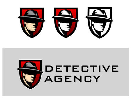 detective agency logo. Abstract men heads in hats.