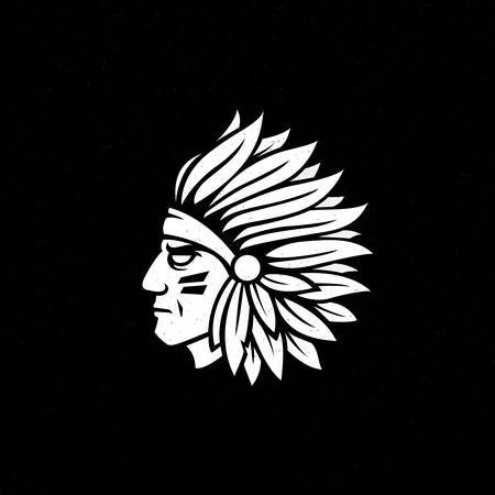 American native chief head icon. Vektorové ilustrace