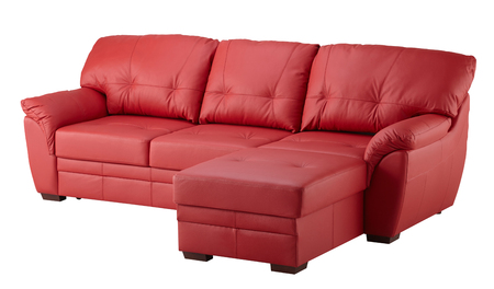 loveseat: Red leather sofa  isolated on white