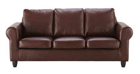 loveseat: Brown leather sofa  isolated on white Stock Photo