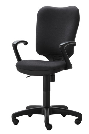 swivel: Side view of black office swivel chair on wheels with a mechanism for adjusting the height. Isolated on white background. Stock Photo