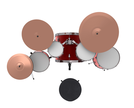 Drum kit. Isolated on white background. 3d render