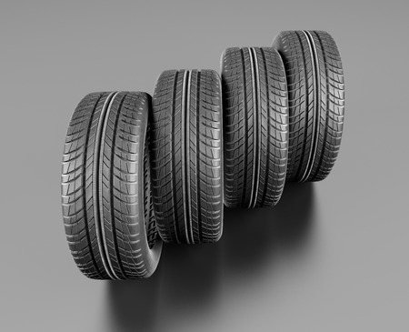 traction: Four car tires on white background. 3d illustration