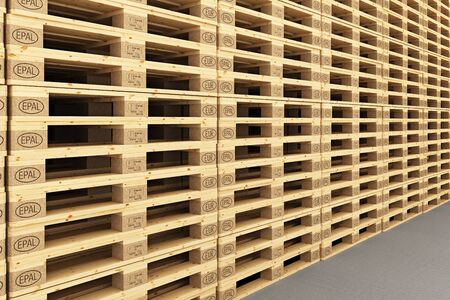 euro pallet: Euro pallets in warehouse. 3d render