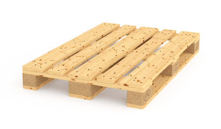 euro pallet: Euro pallet. Isolated on white background. 3d render Stock Photo