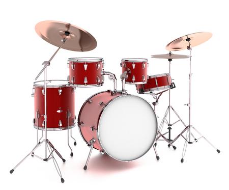 ドラム キット。白い背景上に分離。3 d のレンダリング