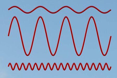oscillations: Sinusoid. Isolated on blue. 3d illustration