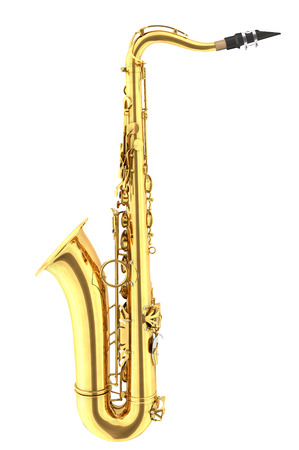 tenor: Tenor saxophone. Isolated on white background. Include clipping path. 3d render Stock Photo