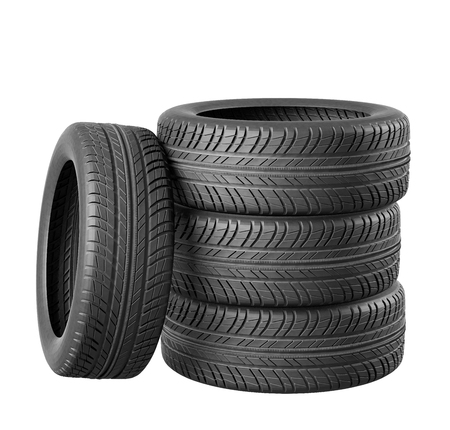 traction: Four car tires on white background. Include clipping path. 3d illustration