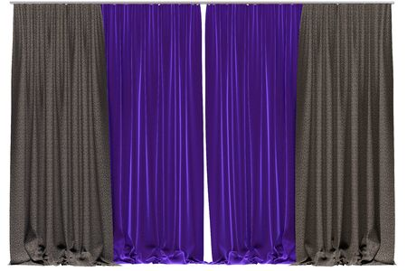 show window: Curtains isolated on white background. 3D illustration
