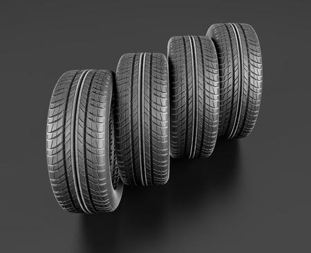 Four car tires on white background. 3d illustration