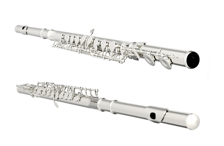 flute structure: Concert flute. Isolated on white background. Include clipping path. 3d render Stock Photo