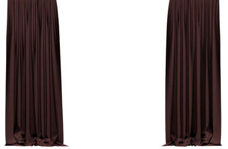 show window: Curtain  isolated on white background. Include clipping path. 3D illustration