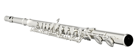 flute structure: Concert flute. Isolated on white background. 3d render Stock Photo