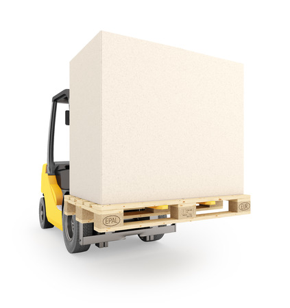 Forklift with pallet and carton with copy space. Isolated on white background. 3d render.