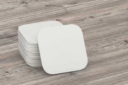 mug shot: Beer coaster. Isolated on wooden table. Include clipping path. 3d illustration Stock Photo
