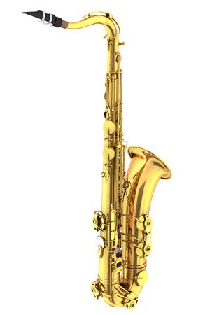 tenor: Tenor saxophone. Isolated on white background. 3d render Stock Photo