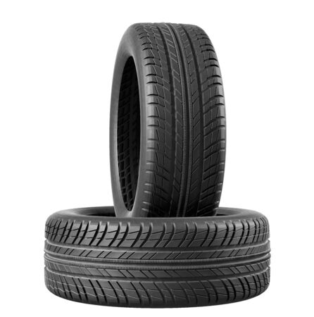 Two new car tires close up on white background. 3d illustration