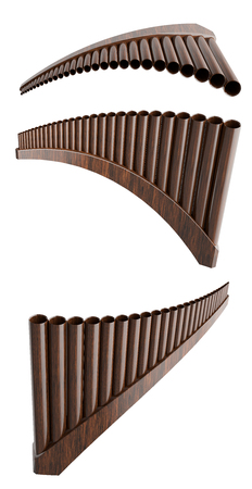 panpipe: Pan flute isolated on white background. 3d render Stock Photo
