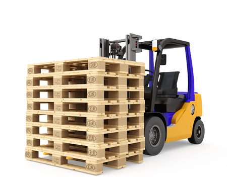 euro pallet: Forklift with euro pallets. Isolated on white background. 3d render. Stock Photo