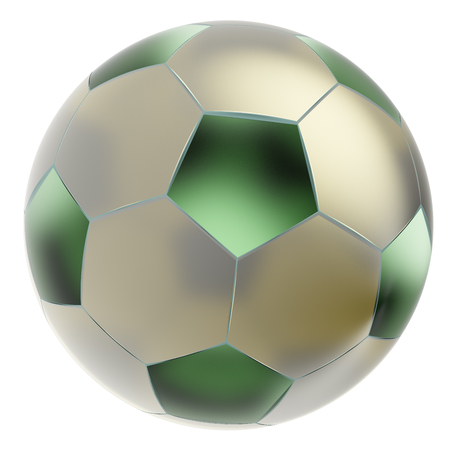 soccerball: Glass soccer ball. Isolated on white background. Include clipping path. 3d render Stock Photo
