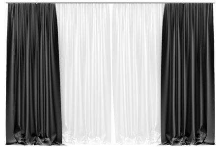 organza: Black curtains isolated on white background. Include clipping path. 3D illustration